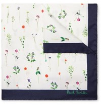 Paul Smith Printed Silk Twill Pocket Square White