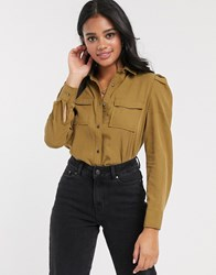 Pimkie Puff Shoulder Utility Shirt In Khaki Beige