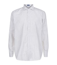 Peter Millar Striped Chambray Shirt Male Beige