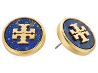 Tory Burch Semi Precious Stud Earrings Lapis Vintage Gold Earring Blue