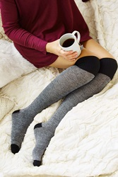 Urban Outfitters Ribbed Cuff Over The Knee Sock Black