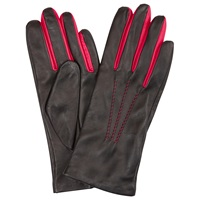 John Lewis Two Tone Leather Gloves Black Bright Pink