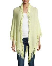 Minnie Rose Cashmere Fringe Trim Wrap Citron