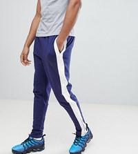 Sixth June Skinny Joggers In Blue With Side Stripe Exclusive To Asos