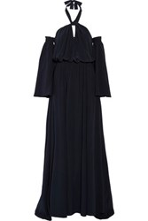 Derek Lam Off The Shoulder Silk Halterneck Gown Midnight Blue