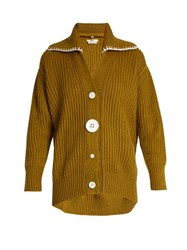 Edun Oversized Button Down Wool Cardigan Khaki