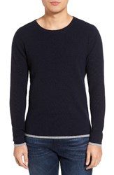 Velvet By Graham And Spencer Men's Jagger01 Tipped Cashmere Sweater Navy