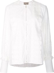 Sea Eyelet Lace Blouse White