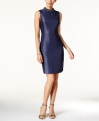 Ivanka Trump Embellished Mock Neck Jacquard Sheath Dress Navy
