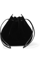 Vanessa Seward Caprice Patent Leather Trimmed Velvet Shoulder Bag Black