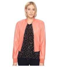 Paul Smith Leather Bomber Coral Women's Coat
