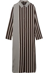 Joseph Hetty Striped Satin Shirt Dress Black