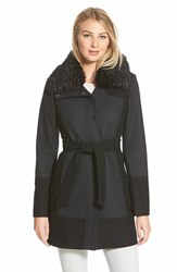 Women's Guess Belted Colorblock Wool Blend Coat With Faux Fur Collar