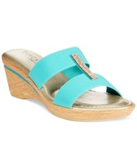 Easy Street Shoes Tuscany By Easy Street Napoli Platform Wedge Sandals Women's Shoes Turquoise