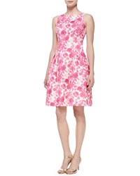 Rickie Freeman For Teri Jon Sleeveless Floral Jacquard Fit And Flare Cocktail Dress Pink