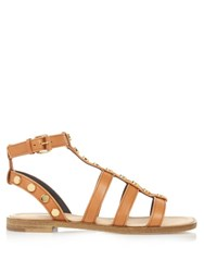 Balenciaga Amp Stud Embellished Leather Gladiator Sandals Tan