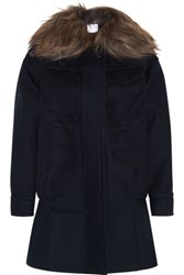 Sacai Goat Hair Trimmed Wool Felt Duffle Coat Navy