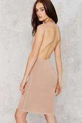 Nasty Gal Let Me Be Tank Bodycon Dress Beige