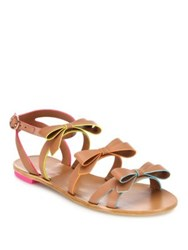 Sophia Webster Samara Faux Leather Bow Flat Sandals Tan