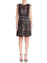 Parker Rosewell Embroidered Ruffle Dress Black