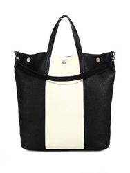 Bally Striped Leather Tote Black White