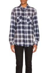 Amiri Grunge Flannel In Blue Checkered And Plaid Blue Checkered And Plaid
