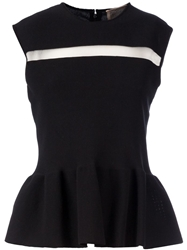 Giambattista Valli Sheer Panel Peplum Tank Black