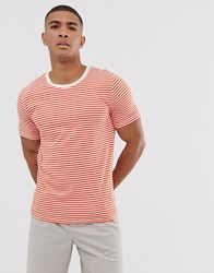 Selected Homme Perfect T Shirt In Orange Stripe