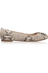 Tory Burch Reva Snake Effect Leather Ballet Flats Animal Print