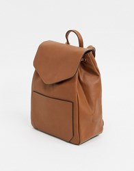 French Connection Leather Drawstring Backpack Tan