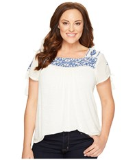 Lucky Brand Plus Size Embroidered Top Egg Shell Women's Clothing Bone