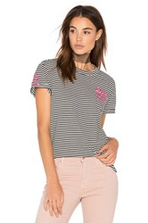 Sandrine Rose Embroidered Stripe Tee Black And White