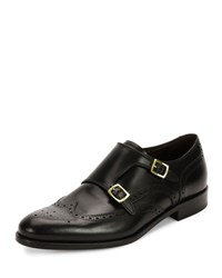 Salvatore Ferragamo Giovanni Calfskin Wing Tip Double Monk Shoe With Gold Buckles Black