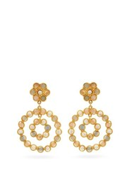 Sylvia Toledano Flower Candies Pearl And Quartz Clip Earrings Gold