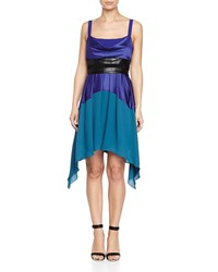 Halston Heritage Colorblock Pleated Tank Dress Women's