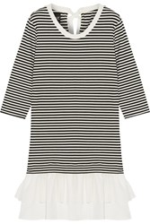 Boutique Moschino Cotton Poplin And Gauze Trimmed Striped Stretch Jersey Mini Dress Black