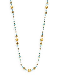 Azaara Semi Precious Multi Stone Orb Station Necklace Gold Multi