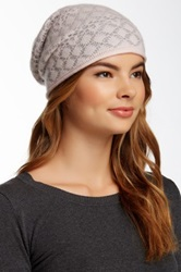 14Th And Union Graphic Pointelle Slouchy Cashmere Beanie Gray