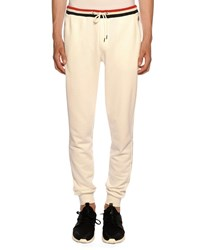 Moncler Lounge Pants With Tricolor Trim White