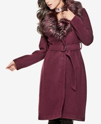 Guess Anna Faux Fur Collar Coat New Fig