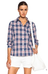 A.P.C. Jour Plaid Button Down Cotton Shirt In Blue Checkered And Plaid