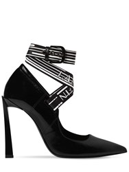 Lanvin 105Mm Logo Strap Patent Leather Pumps Black