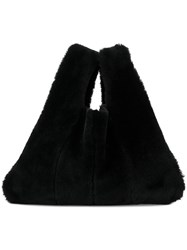Kara Fur Shopper Tote Black