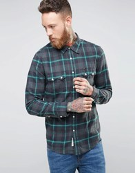 Lee Rider Check Flannel Shirt Green Bottle Green