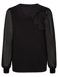 Kaliko Chiffon Sleeve Tie Neck Jumper Black