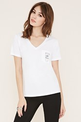 Forever 21 Coffee Graphic Pocket Tee