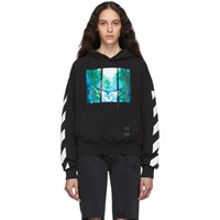 Off White Black And Multicolor Diag Waterfall Over Hoodie