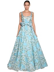 Luisa Beccaria Embroidered Organza Long Dress Light Blue