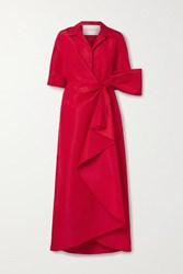 Carolina Herrera Wrap Effect Bow Embellished Draped Silk Faille Gown Red