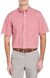 Nordstrom Men's Big And Tall Men's Shop Smartcare Tm Gingham Sport Shirt Red Sauce Blue Gingham
